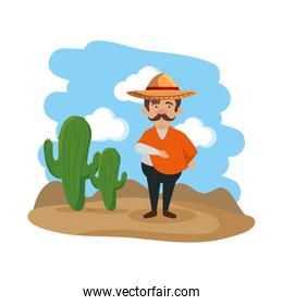 traditional mexican man with hat