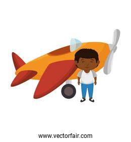 little black boy with airplane toy