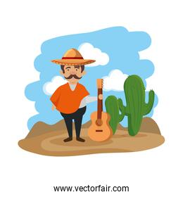 traditional mexican man with hat and guitar