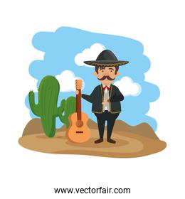 traditional mexican mariachi with guitar
