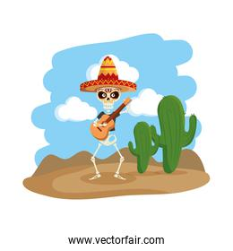 skeleton mexican with hat and guitar