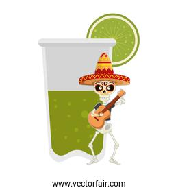 skeleton mexican with guitar and lemonade