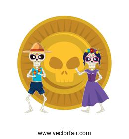 skeleton of katrina and mariachi with skull coin