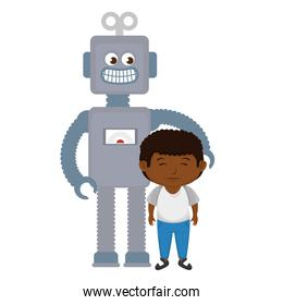 little boy with robot toy