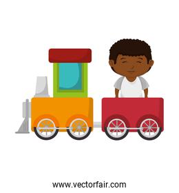 little boy with train toy