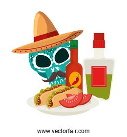 death skull with delicious mexican food