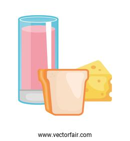 glass cup yogurt with bread and cheese