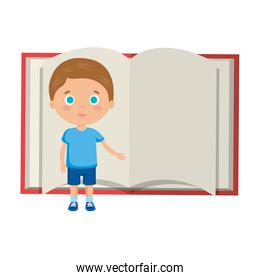 little boy student with book