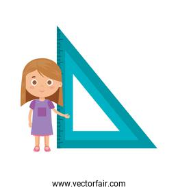 little student girl with triangle rule