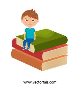 little boy student with books character