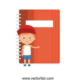 little boy student with notebook character