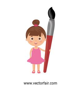 smiling student girl with paintbrush