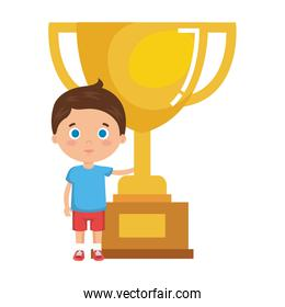 little boy student with trophy character