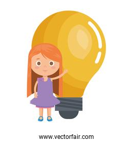 little student girl with bulb