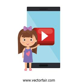 little student girl with smartphone