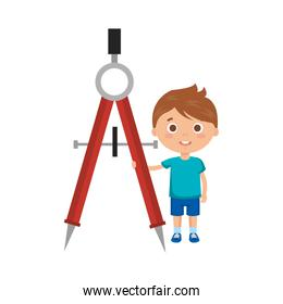 little boy student with compass character