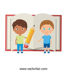 little boys students with book