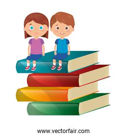little kids students couple with books