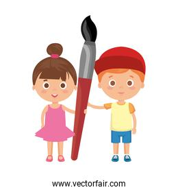little kids students couple with paint brush