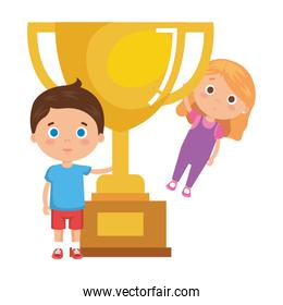 little kids students couple with trophy cup