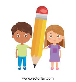 little kids students couple with pencil