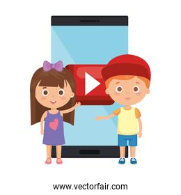 little kids students couple with smartphone