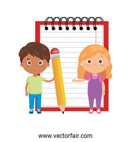 little kids students couple with notebook