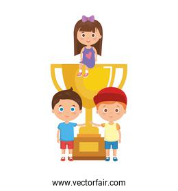 little kids students with trophy cup