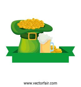 hat leprechaun with coins and beer
