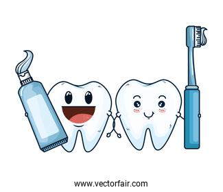 comic teeth couple with brush and paste characters