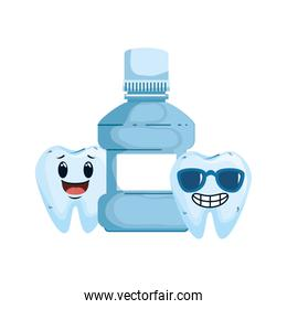 comic teeth couple with mouthwash kawaii characters over white