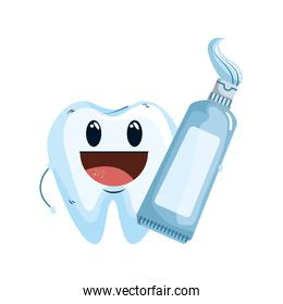 comic tooth with toothpaste kawaii style icon