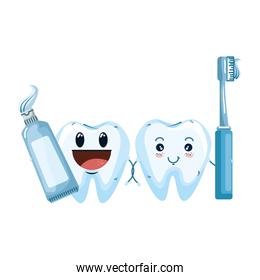 comic teeth couple with brush and paste