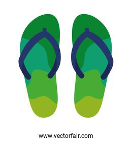 green flip flops isolated icon
