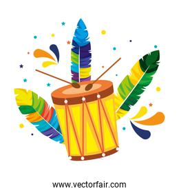brazilian carnival drum with feathers