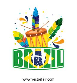 brazilian label with flag and drum