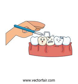 human teeth with dentist hand and drill