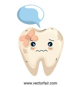comic tooth with speech bubble and bandages