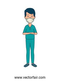 young dentist mouth cover avatar character