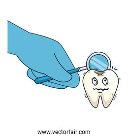comic tooth with dentist hand using mirror