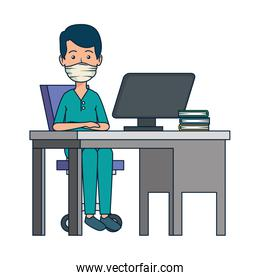 young dentist male in office