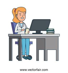 young dentist female in office