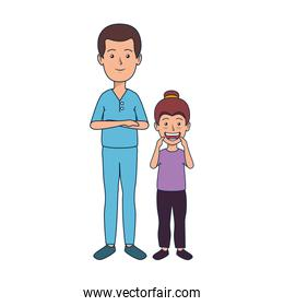 young dentist with girl patient
