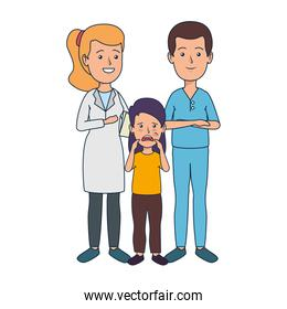 young dentists couple with patient over white
