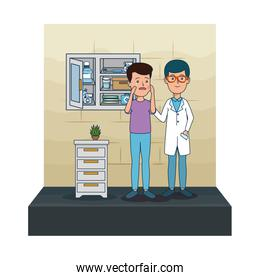 young dentist with patient