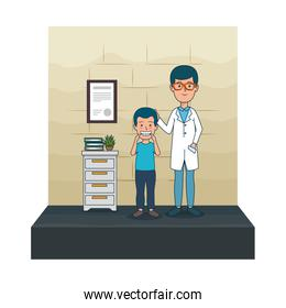 young dentist with boy patient scene