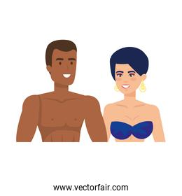 couple lovers with swimsuit characters