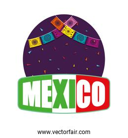 mexico label with party gralands