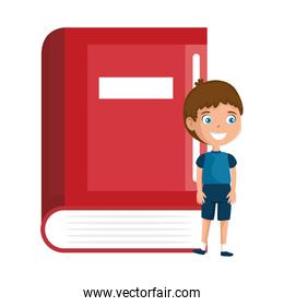 little boy student with book character