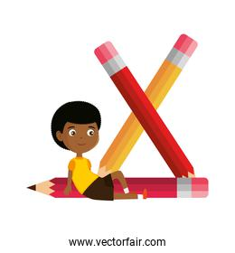 little boy student with pencils character